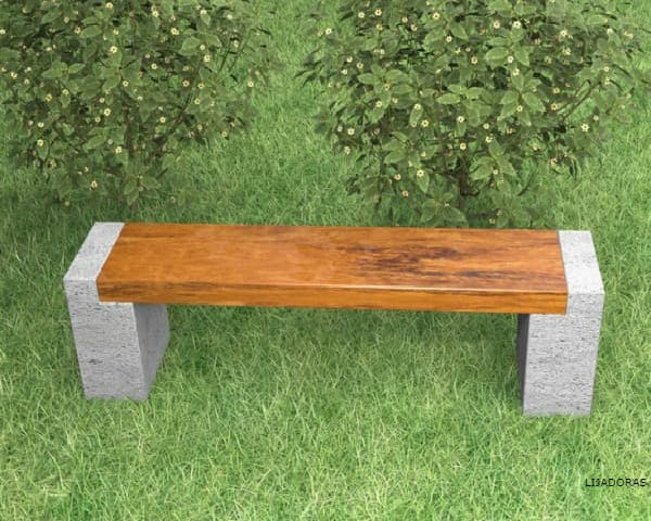 OUTDOOR WOODEN BENCH IMAGE